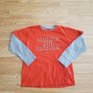 "Nike ""Nothing But Awesome"" Boys Long Sleeve Tee"